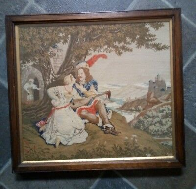Antique French Romantic Tapestry Embroidery Picture