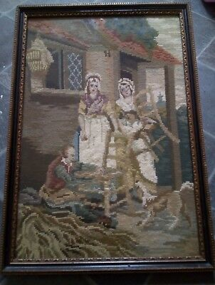 Antique French 3d  Tapestry Embroidery Picture framed black gold frame wall
