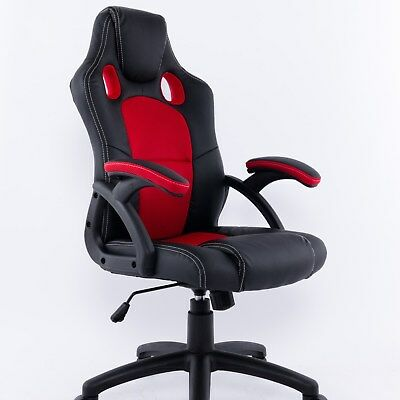Office chair Faux lether ergomoic black red height adjustable with Armrests, out