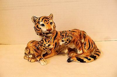 Ceramic Figure Tiger Mother And Two Baby Cubs