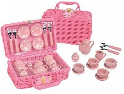 Pink Girls 17pc Pretend Tea Party Toy Set with Picnic Basket Kids Toddler Gift