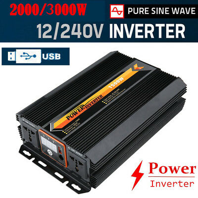 4500W Max 4000W Power Inverter Pure Sine Wave DC 12V to AC 240V Power Display AU