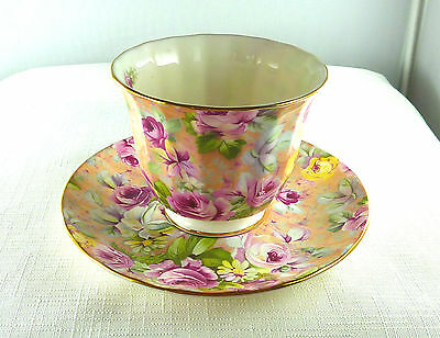 Floral Chintz, Camile Crown Trent, Limited Fine Bone China, England Cup & Saucer