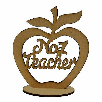 MDF Freestanding Wooden Apple With Base Best No 1 Teacher Gift Design 3mm Thick