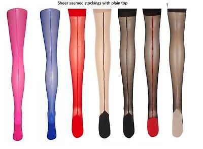 Vintage Retro Sheer Seam & Cuban Heel Stockings Plain Top- 6 Color X- Large -SL