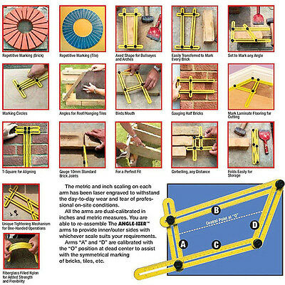 Multi-Angle Ruler Template DIY Tool Tile Floor Measuring Instrument