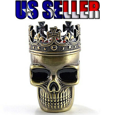 Crowned Skull Aluminum Dry Herb Spice Grinder US Seller Free Shipping