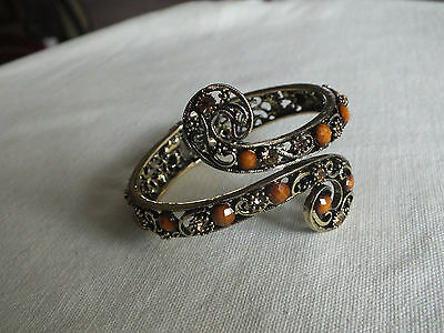 "Collectible Clamp Bracelet Gold Tone Filigree Amber Rhineston 2 1/8 W x 2 3/8"" A"