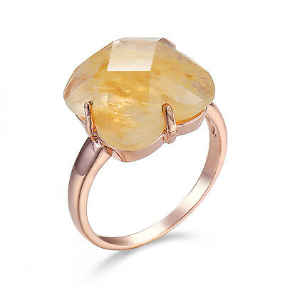 yellow jade zircon Women Promise Engagement ROSE Gold Fill Wedding Ring