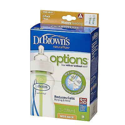 Dr Brown's Options Wide Neck Bottle (270 ml, Pack of 2)