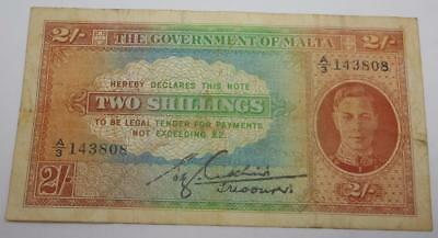 1942 Government of MALTA 2 Shillings Currency Note