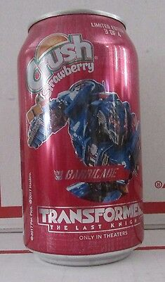 Crush Strawberry Transformers Barricade 12oz Full Can soda pop free shipping