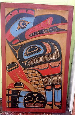 Calvin Hunt Northwest Coast First Nations Cedar Board Carving of Kwakiutl Raven