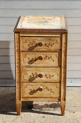 Furniture, Pair of Hand-Painted Nightstands