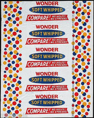 Vintage bread wrapper WONDER SOFT WHIPPED Continental Baking Rye New York unused