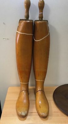 Vintage Antique Peal Co. London Riding Hunting Wooden Boot Trees Engraved Forms