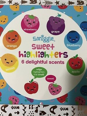 "Cute..Pretty NOVELTY Gift Pack - * 6 SCENTED ""SMIGGLES"" HIGHLIGHTERS Pack (BNIB)"