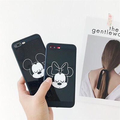 Cute Cartoon Black Mirror Mouse Couple Soft Phone Case For iPhone 6s 7 8 X Plus
