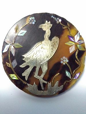 Antique Engraved Silver Bird and Mother of pearl flowers on tortoise button
