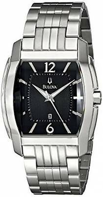 Bulova Men's 96B112 Dress Black Tonneau Dial Stainless Steel Date Quartz Watch