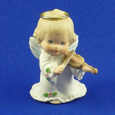 Ruth Morehead Holly Babes Figurine Christmas Angel Girl with Violin 1986 Enesco