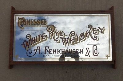 Vintage Tennessee White Eye Whiskey Fenkhausen Mirror Hanging Wooden Sign Bar