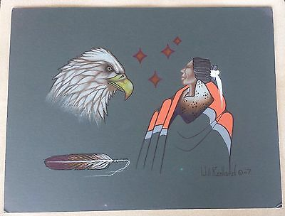 "Signed Painting by Will Redbird son of  American Indian Artist ""Robert Redbird"""