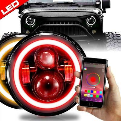 2x 7 Inch Headlamp LED RGB Halo Projector Angel Eye DRL Turn Signal for Jeep