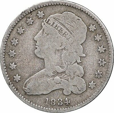 1834 Capped Bust Quarter, Very Good VG