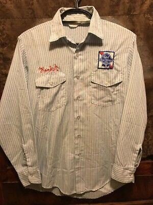 PABST BLUE RIBBON PBR MILWAUKEE BEER VINTAGE 70s 80s Unitog Delivery Work Shirt