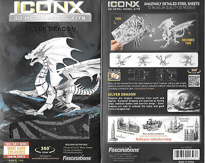 Silver Dragon Fantasy Metal Earth ICONX 3D Steel Model Kit #ICX023 NEW SEALED