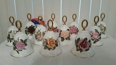 the danbury mint- American rose Bell collection- lot of 11- English bone china