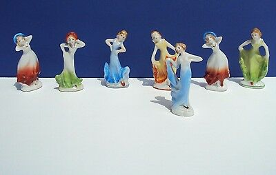 Vintage OCCUPIED JAPAN  Lot of 7 MINIATURE PORCELAIN FIGURINES  Dancing Ladies