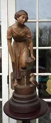 """rare Art Nouveau Plaster Statue Girl With Kookaburra Australian Dated 1915-16"""