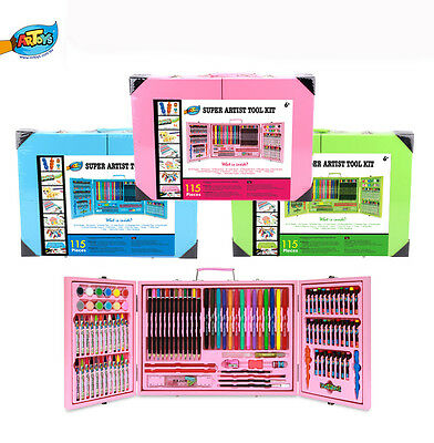 115Pieces Deluxe Art Box Set Unique Design Pencil Crayon Marker Oil pastel Paint