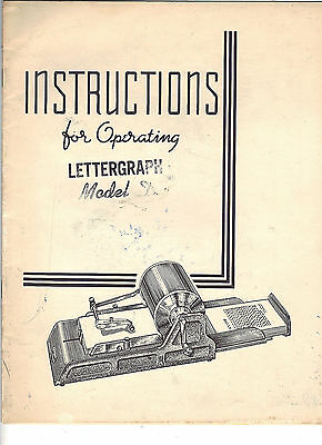 Original Operating Instructions LETTERGRAPH MODEL D by HEYER - 1940s - FreeShip