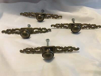 Vintage Brass Door Drawer Pulls Ornate Set Of 4 Scroll