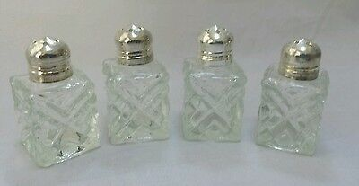 VINTAGE MINIATURE GLASS SALT & PEPPER SHAKERS (SET OF 4) Pre-Owned NICE!!