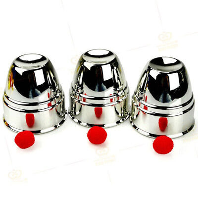 Close-Up Classic Magic Trick Red Silver Cups And Balls Penetration Table Toy
