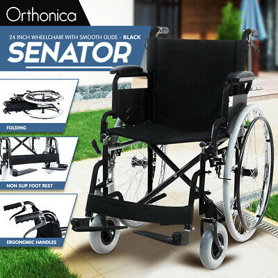 Orthonica Folding Wheelchair 24in Manual Mobility Aid Smooth Glide Handle Brakes