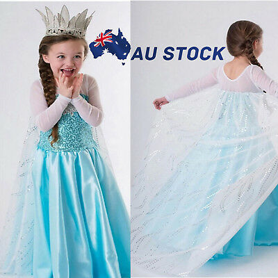 AU Girls Frozen Princess Queen Elsa Costume Party Birthday Dress with Cape 3-9Y