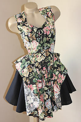 DOLLY! VINTAGE 80's FRENCH ROSES ROPE-UP PARTY DRESS 12