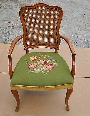 Antique Upholstery Seat & Cane Back Armed Chair