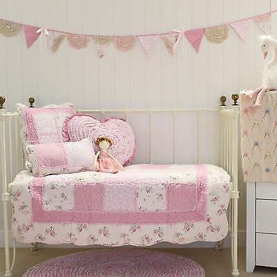 Baby Girls 5 pce Mia Pink Cot Quilt Vintage Floral Shabby Chic Crib Bedding