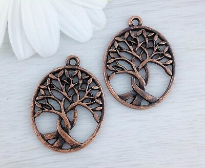 Bulk Tree of Life Charms 2 or 10pcs Copper Tone Oval Pendant Nature CH246