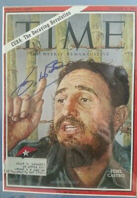 Fidel Castro Signed Front Cover Of Time Magazine 0Ctober 8, 1965