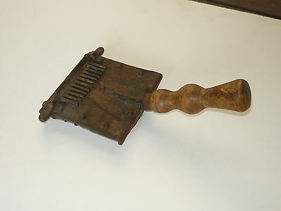 Original 50s Horse Hair Grooming Curry Comb Vintage Stock Brush w/ Wooden Handle