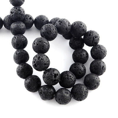 10 Strds Natural Volcanic Lava Stone Beads Bumpy Loose Beads Round Black 4~12mm