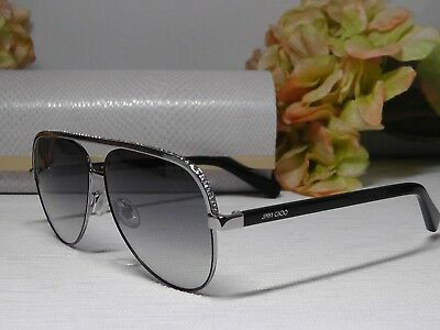 38c0cbe23dd Jimmy Choo RUTHENIUM Linas 59 12 145 MIRROR Aviator Crystal Sunglasses   475 NWT