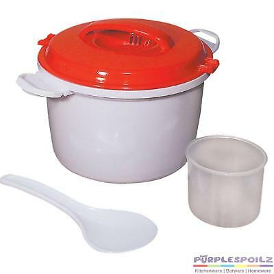 NEW MICROWAVE RICE COOKER 1.8 Litre Pasta Vented Non Stick Paddle Spoon BPA FREE